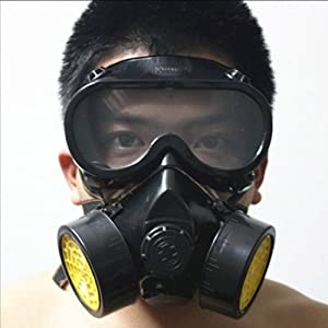 Dealglad Industrial Gas Chemical Anti-dust Paint Respirator Mask Glasses Goggles Set