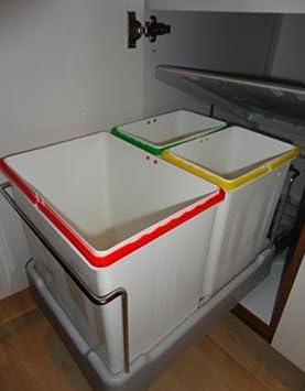 3-fach Küchen Einbau Abfalleimer Electa2, 1x 16 Liter und 2x 7,5 ...
