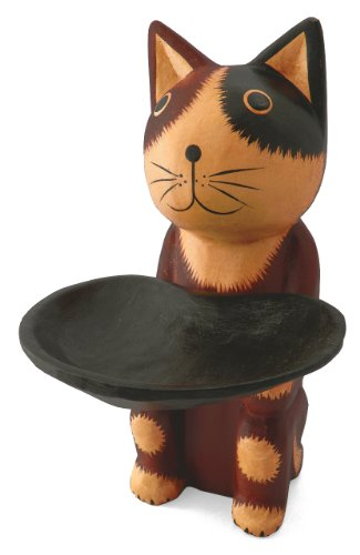 木彫り トレー持ち 猫