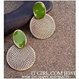 Vintage Big Drop Of Green Round Earrings Carved Jewelry Accessories For Girls Ladies By JewelQueen