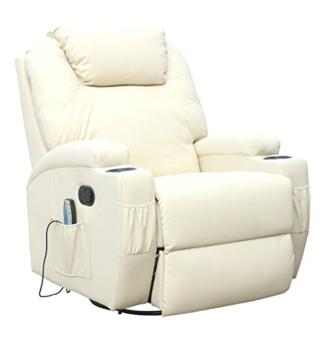 Kidzmotion Leather Recliner Gaming Chair - rocking, swivel, massage & heat (Cream)