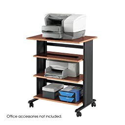 Safco Products 1882CY Muv Four Level Adjustable Printer Machine Stand, Cherry/Black