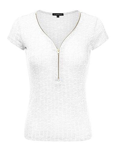 JJ Perfection Women's Solid Ribbed Knit Short Sleeve Zipper Henley Shirt Top WHITE 3XL