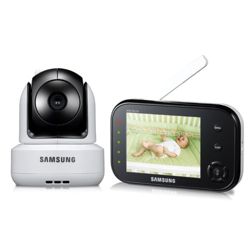 Samsung SEW-3037W Wireless Pan Tilt Video Baby Monitor Infrared Night Vision and Zoom, 3.5 inch
