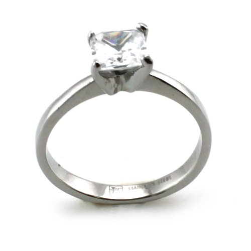 Stainless Steel Solitaire Princess Cut CZ Promise Ring (Size 8) Available Size; 5, 6, 7, 8, 9