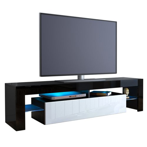 TV Stand Unit Lima in Black / White High Gloss Black Friday & Cyber Monday 2014