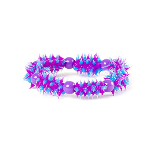 Claire'S Accessories Girls Purple And Blue Rubber Spike And Beaded Bracelet