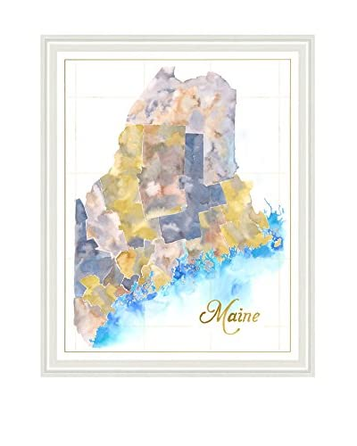 Art Source Watercolor Maine Map