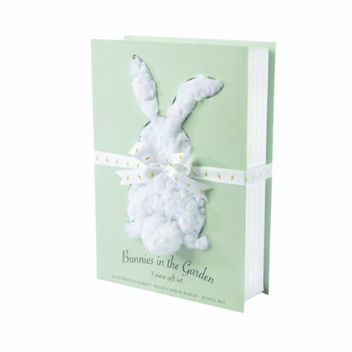 Baby Aspen Bunnies in the Garden Luxurious 3 Piece Blanket Gift Set