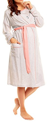 Happy Mama Women's Maternity Nightie Robe Hospital Set Nursing Nightshirt. 385p (Coral, US 12, L)