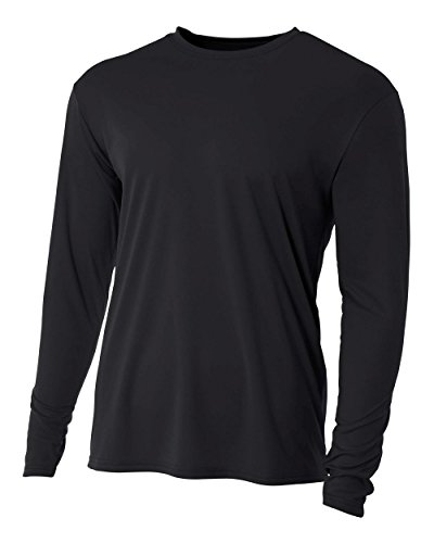 A4 Men's Cooling Performance Crew Long Sleeve T-Shirt, Black, Large