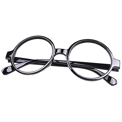 FancyG® Retro Geek Nerd Style Round Shape Black Glass Frame NO LENSES