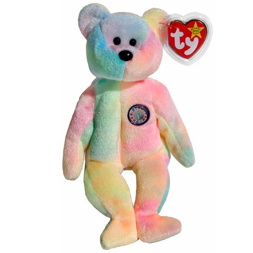 1 X Ty Beanie Babies - B.B. the Ty-Dyed Birthday Teddy Bear - 1
