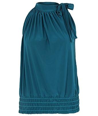 Haut Drapé Noeud Lavallière Femme Top Soirée Cou Noué Sans Manches(36,Bleu vert)