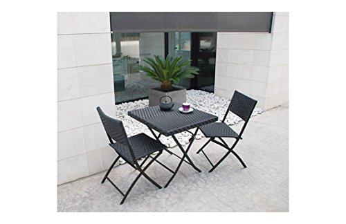 Prosimex company limited-M231137 tavolo ratan 68 x 68 cm, con 2 divani pieghevoli, colore: nero