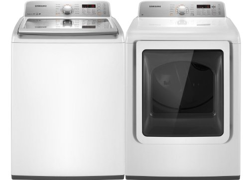 Samsung White King Size Smart Care Top Load Washer and ELECTRIC Dryer Laundry Set WA456DRHDWR_DV456EWHDWR