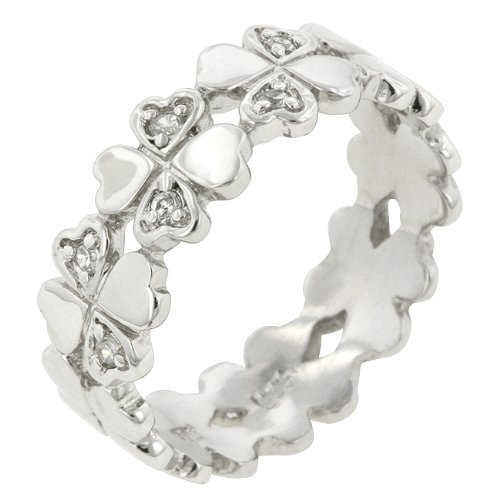 Heart Clover Sterling Silver Cubic Zirconia CZ Eternity Promise Ring in Silver Tone (Size 5,6,7,8,9,10)