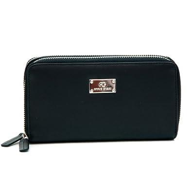Anais Gvani Women's Smooth Genuine Leather Zip-Around Wallet w/ Dual Compartments -Black