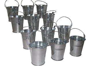Hortense B. Hewitt Wedding Accessories Favor Holders, Miniature Galvanized Tin Buckets, 12 Count