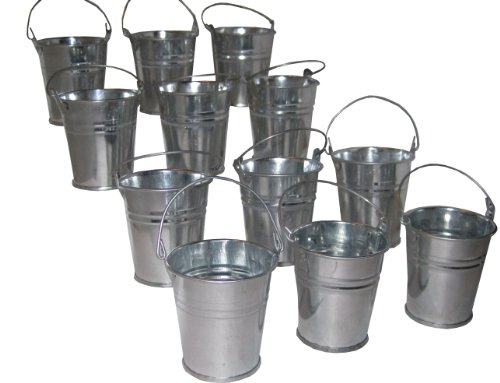 Hortense B. Hewitt Wedding Accessories Favor Holders, Miniature Galvanized Tin Buckets, 12 Count