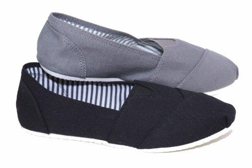 Mens New Black Grey Flat Canvas Espadrille Slip On Pumps Plimsolls Deck Shoes