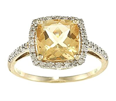 10k Yellow Gold Cushion Citrine and Diamond Ring (1/4 TDW)