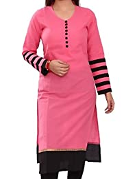 Sai Fab Women's Cotton Printed Pink & Black Kurti ( Free Size Altrable Till 42-44 OR XL)