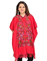 Exotic India Geranium Cape From Kashmir With Floral Ari-Embroidery By Hand - Red