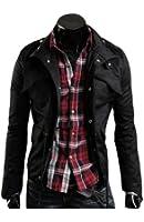 Izacu NEW Men's Military Slim Fit Jacket Coat Rider Zip Button Casual Long Sleeve Hoody Outwear Jacket Black/Grey/Green UK XS/S/M/L