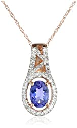 10k Rose Gold Tanzanite and Diamond (0.16cttw, G-H Color, I1-I2 Clarity) Pendant Necklace, 17""