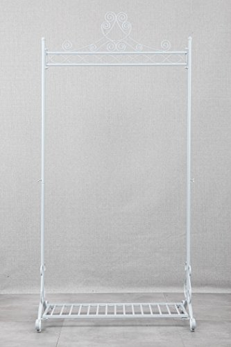 Chic and Sturdy Garment Rack - Clothing Racks with Bottom Shelf for Shoes – Metal Hanging Clothes Stand (White) 2