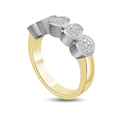 0.50ct H/SI1 Diamond Half Eternity Ring for Women with Round Brilliant cut diamonds in 18ct White Gold & Yellow Gold