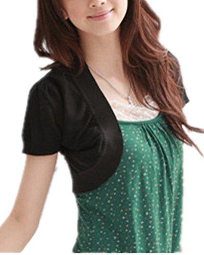 Mullsan Women's Short Sleeve Shrug Cardigan Top (Black)