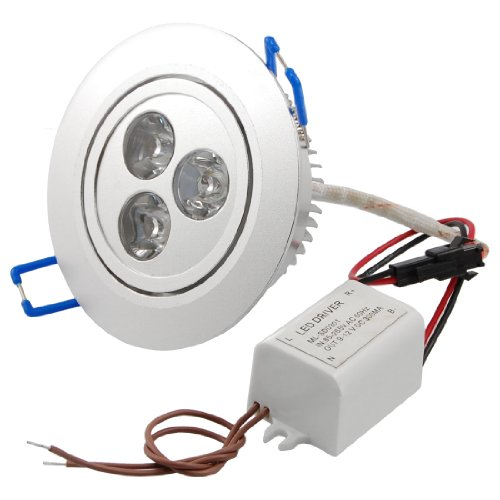 Amico White Round LED Ceiling Recessed Lamp Downlight 3W 3 x 1W 6000K