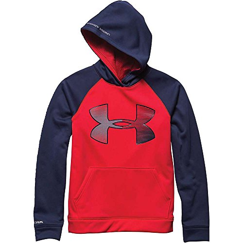 Under Armour Boys' Storm Armour Fleece Jumbo Big Logo Hoody Risk Red / Blue Knight / Steel Medium