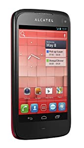 Alcatel One Touch 997D Smartphone (10,9 cm (4,3 Zoll) Touchscreen, Dual-Core, 1GHz, 8 Megapixel Kamera, Android 4.0) dunkelrot