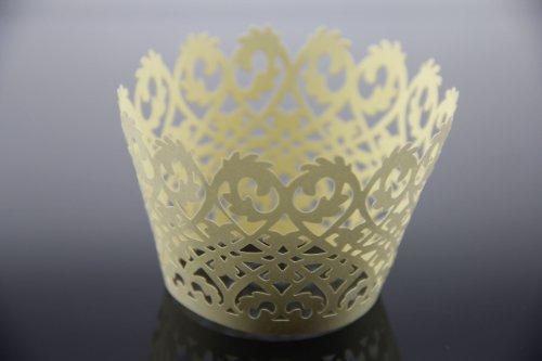 Láser cortar envolturas de la magdalena envuelve decoración casos torta (12, Gold)