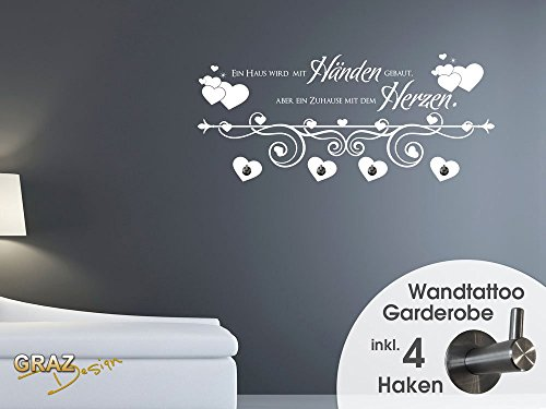wandtattoo garderobe mit 4 kleiderhaken flur haus spruch herzen schlafzimmer 105x45cm 070. Black Bedroom Furniture Sets. Home Design Ideas