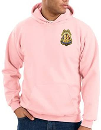 NEVER FORGET - POLICE BADGE LOGO EMBLEM 10 YEARS ANNIVERSARY USA AMERICAN PATRIOTIC NY TWIN TOWERS SEPTEMBER 11TH MEMORIAL ADULT Pink HOODED PULLOVER SWEATSHIRT HOODY HOODIE, Large