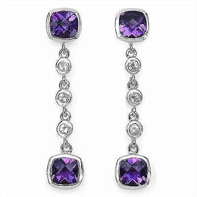 Jewelry-Schmidt-Exquisite Earrings Amethyst / White Topaz-3, 82 carats