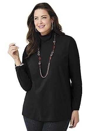 Ulla Popken Plus Size Solid Turtleneck - Black, 12/14