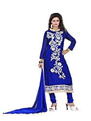 Nilkanth Enterprise Blue Cotton Dress Material