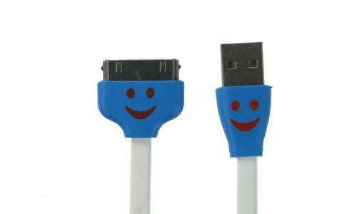 i-Beans【全11色】iPad / iPod touch / iPhone4 / 4S 対応 充電・データ転送USB延長ケーブル 笑顔柄 フラットケーブル 1m USB Cable (ホワイト 4438-2)