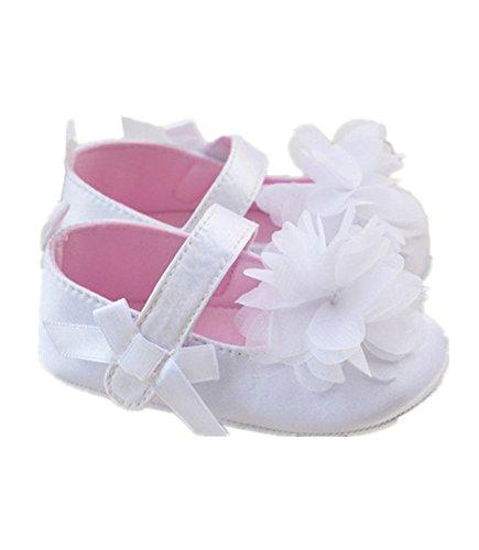 Girls Prewalker Toddler Cute Flower Bowtie Antiskid Shoes Sneaker (6-12 M, White)