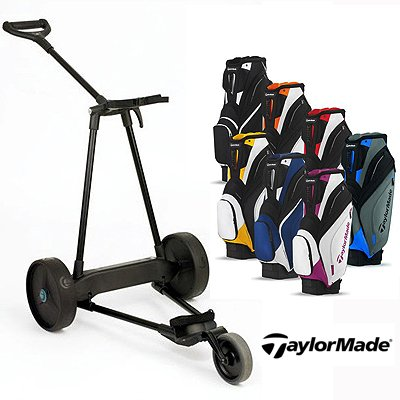 New! Emotion E3 23Lbs Pull Push Electric Motorized 3-Wheel Golf Cart Trolley + New! Taylormade Catalina 2013 Cart Bag