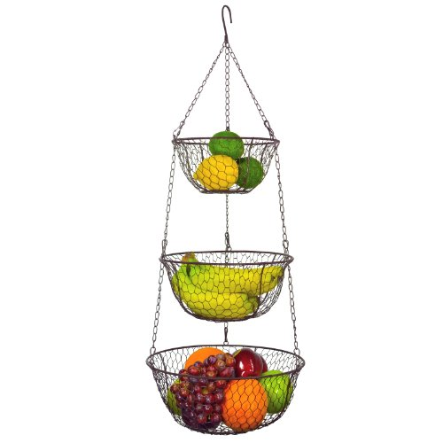 Mygift® 3 Tier Chain Hanging Space Saving Rustic Country Style Chicken Wire Fruits / Produce / Plants Storage Baskets front-384640