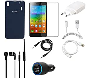 NIROSHA Tempered Glass Screen Guard Cover Charger Car Charger Headphone / Hands Free USB Cable for Lenovo A7000 - Combo
