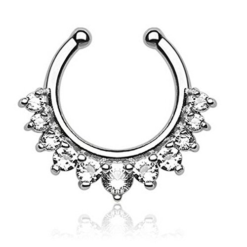1 Piece Clip on Jewelry Creative Fake Septum Clicker Nose Ring (Silver 1)