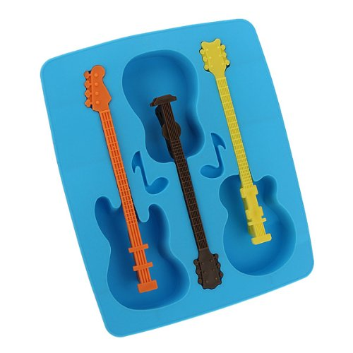 Acoustic Guitar Chocolate Mould Maker Cake Ice Tray Jelly Party Freeze Silicone 1pcs (color random)