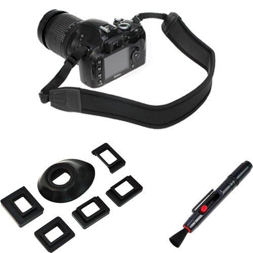 Birugear Lens Pen + Universal Eyecup Eye Cup Eyepiece With 5 Adapters + Black Anti-Slip Neoprene Camera Shoulder / Neck Strap Belt For Canon Nikon Pentax Olympus Fujifilm Dslr / Slr Cameras
